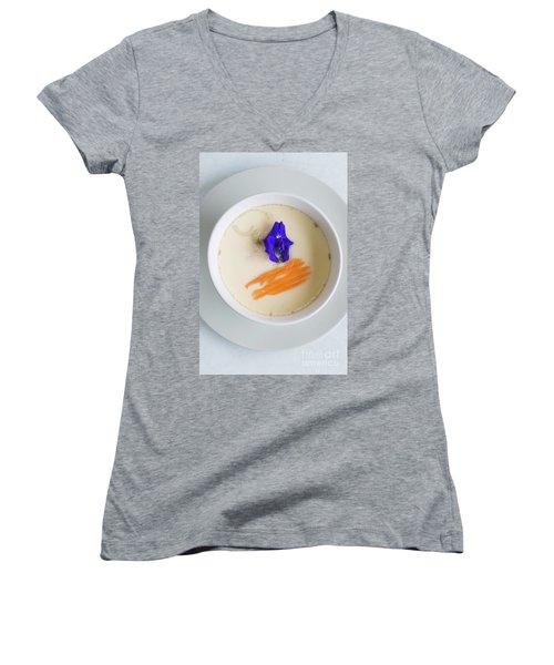 Women's V-Neck T-Shirt (Junior Cut) featuring the photograph Steamed Egg by Atiketta Sangasaeng