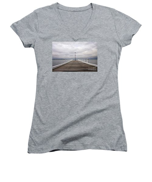 Women's V-Neck T-Shirt (Junior Cut) featuring the photograph Steampacket Quay by Linda Lees