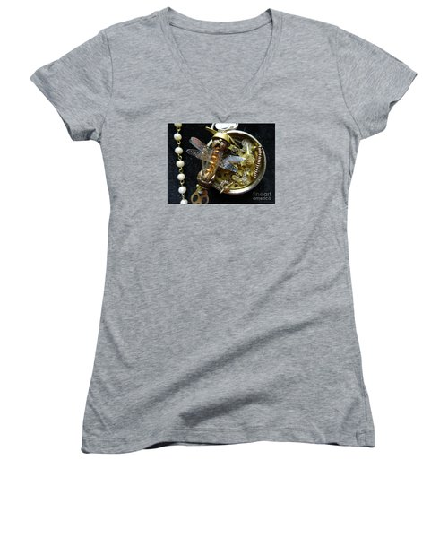 Steampunk Dragonfly Pylon Women's V-Neck T-Shirt (Junior Cut) by Justin Moore