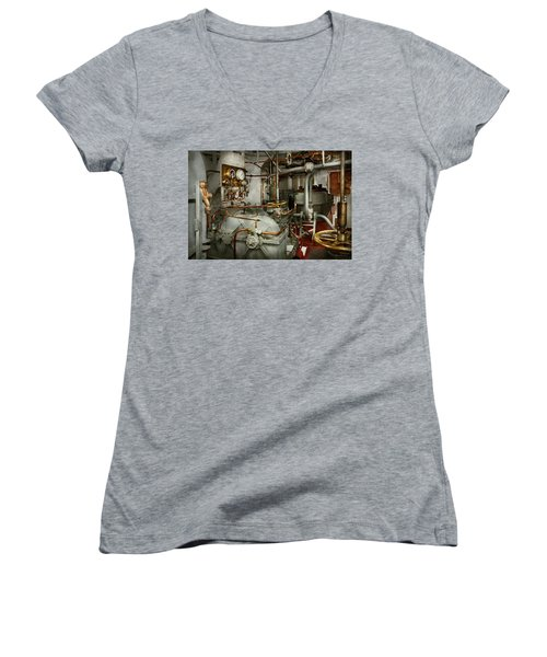Women's V-Neck T-Shirt featuring the photograph Steampunk - In The Engine Room by Mike Savad