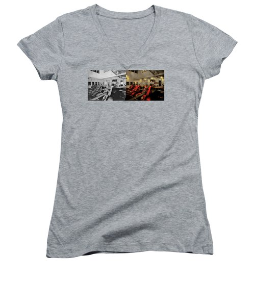 Women's V-Neck T-Shirt featuring the photograph Steampunk - Man The Controls 1908 - Side By Side by Mike Savad