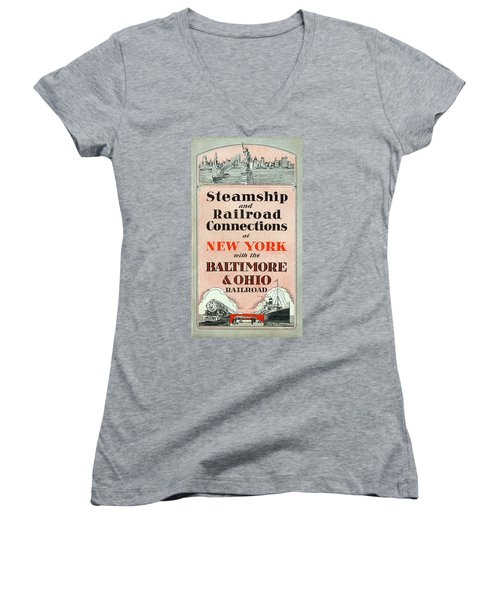 Steamship And Railroad Connections At New York Women's V-Neck
