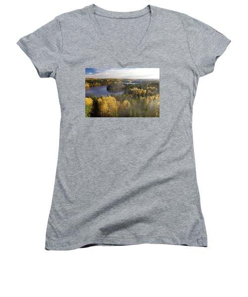 Steamy Forest Women's V-Neck T-Shirt (Junior Cut) by Teemu Tretjakov