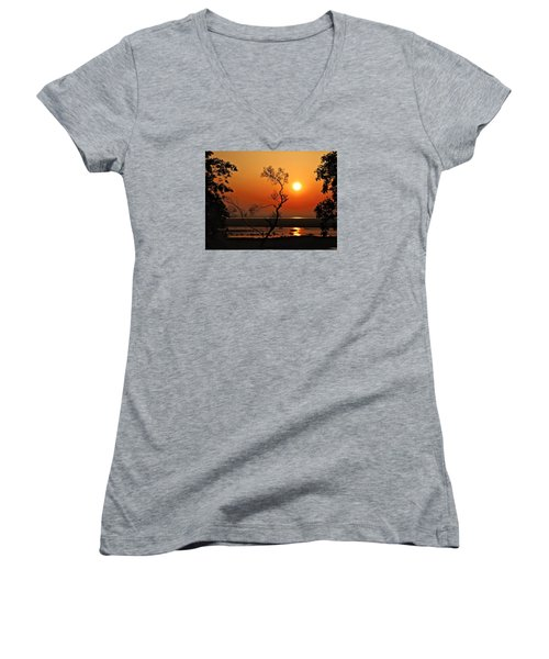 Steamy Summer Sunrise Women's V-Neck T-Shirt (Junior Cut)