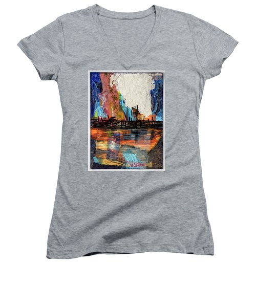 Steel Mills At Night Women's V-Neck (Athletic Fit)