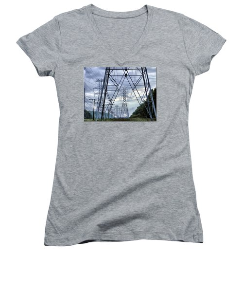 Women's V-Neck T-Shirt (Junior Cut) featuring the photograph Steel Soldiers Marching To The Sea by Brian Wallace