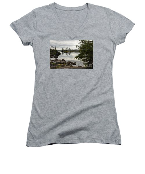 Women's V-Neck T-Shirt (Junior Cut) featuring the photograph Steely Day by Larry Ricker