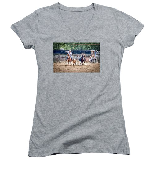 Women's V-Neck T-Shirt (Junior Cut) featuring the photograph Steer Wrestling With An Audience by Darcy Michaelchuk