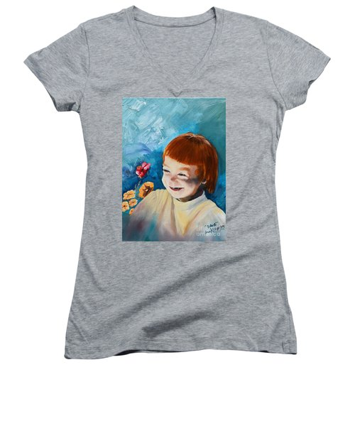 Stefi- My Trip To Holland - Red Headed Angel Women's V-Neck
