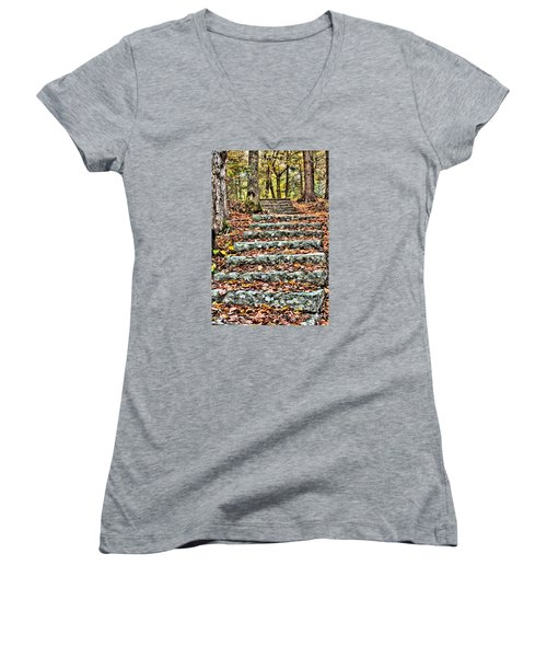 Step Into The Woods Women's V-Neck T-Shirt (Junior Cut) by Debbie Stahre