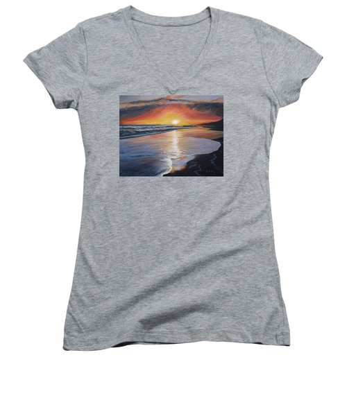 Women's V-Neck T-Shirt (Junior Cut) featuring the painting Stephanie's Sunset by Donna Tuten