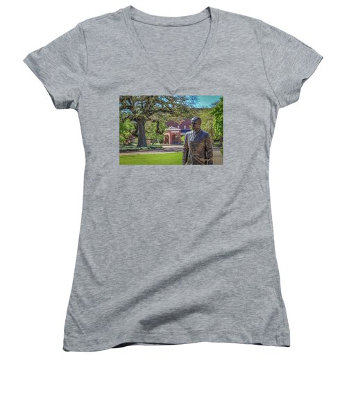 Women's V-Neck T-Shirt (Junior Cut) featuring the photograph Stephens, Oaks And Walk Of Honor by Gregory Daley  PPSA