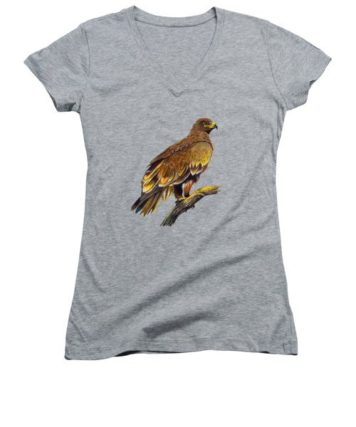 Steppe Eagle Women's V-Neck T-Shirt (Junior Cut) by Anthony Mwangi