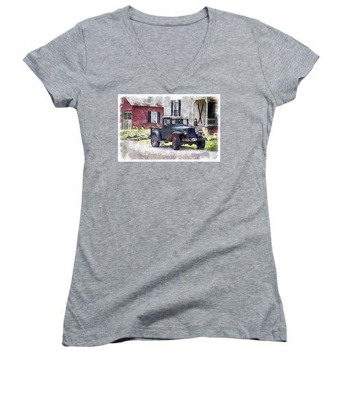 Stepping Back Women's V-Neck T-Shirt