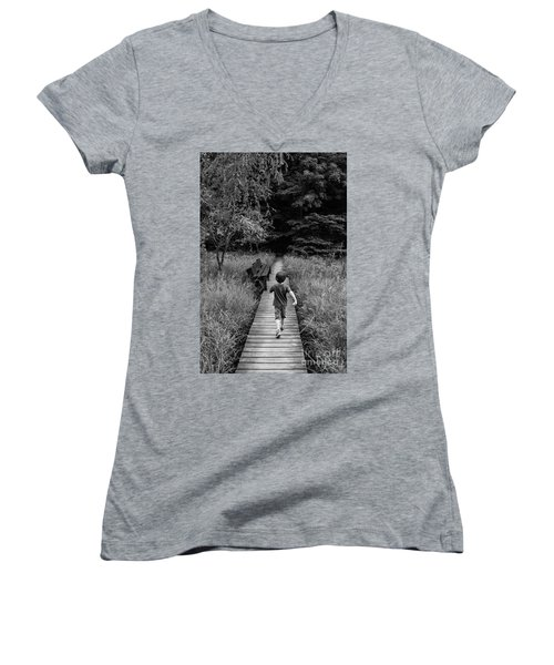 Women's V-Neck T-Shirt (Junior Cut) featuring the photograph Stepping Into Adventure - D009927-bw by Daniel Dempster