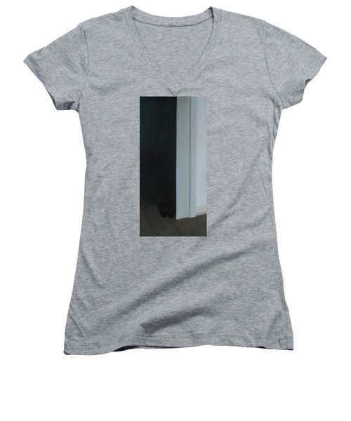 Women's V-Neck T-Shirt (Junior Cut) featuring the painting Stepping Into The Light? by Tone Aanderaa