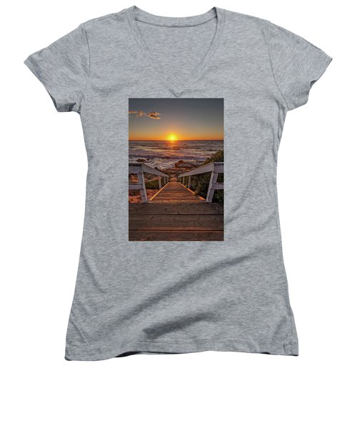 Steps To The Sun  Women's V-Neck (Athletic Fit)