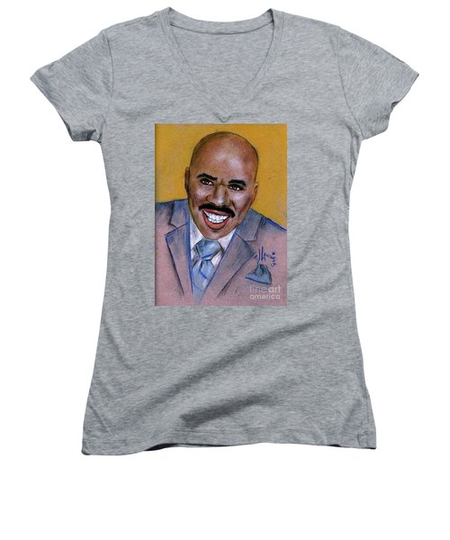 Women's V-Neck T-Shirt (Junior Cut) featuring the drawing Steve Harvey by P J Lewis