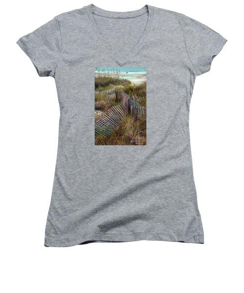 Women's V-Neck T-Shirt (Junior Cut) featuring the photograph Stick Fence Ocean by Linda Olsen