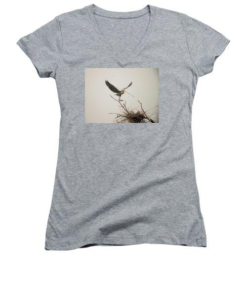 Women's V-Neck T-Shirt (Junior Cut) featuring the photograph Stick Man by David Bearden
