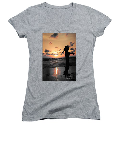 Still By Sea Women's V-Neck T-Shirt (Junior Cut) by Rushan Ruzaick