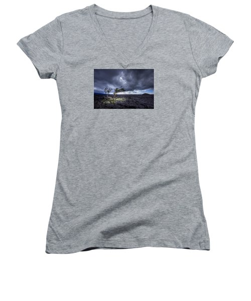 Women's V-Neck T-Shirt (Junior Cut) featuring the photograph Still Fighting by Dan Mihai