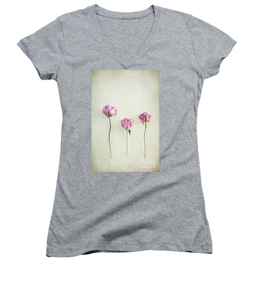Still Life Of Dried Peonies With Texture Overlay Women's V-Neck