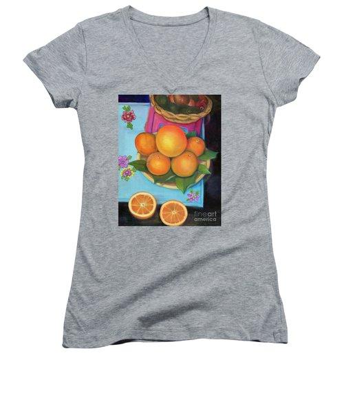 Still Life Oranges And Grapefruit Women's V-Neck (Athletic Fit)