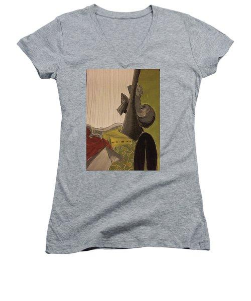 Still Life With A Black Horse- Cubism Women's V-Neck T-Shirt (Junior Cut)