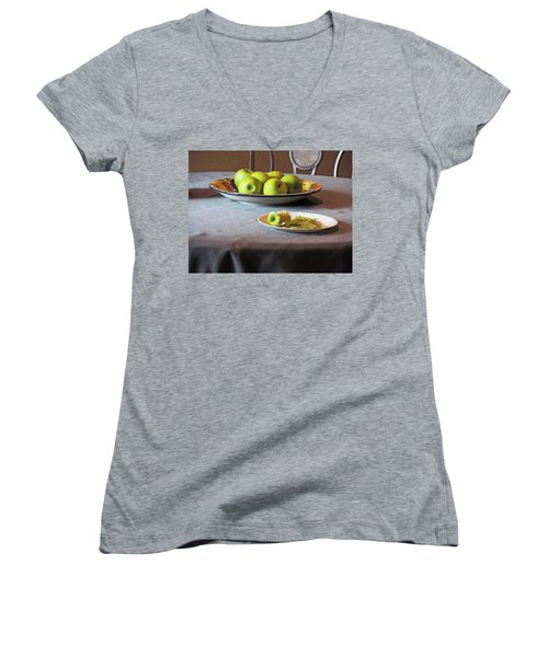 Still Life With Apples And Chair Women's V-Neck T-Shirt (Junior Cut) by Lynda Lehmann