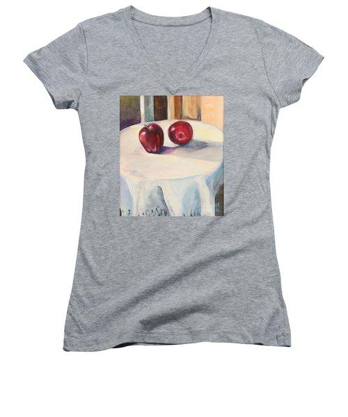 Still Life With Apples Women's V-Neck T-Shirt (Junior Cut)