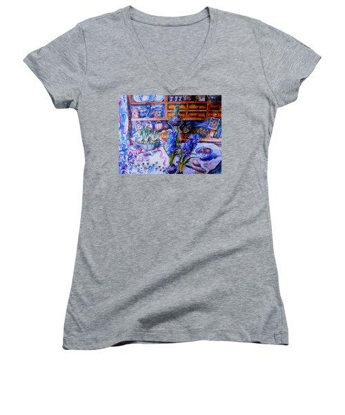 Still Life With Hyacinths  Women's V-Neck T-Shirt (Junior Cut) by Trudi Doyle