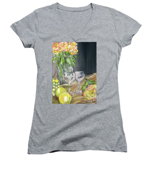 Still Life With Lemons, Roses  And Grapes. Painting Women's V-Neck (Athletic Fit)