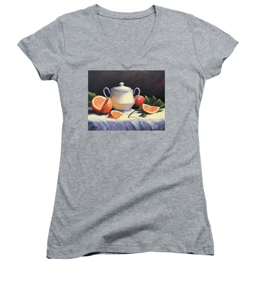 Still Life With Oranges Women's V-Neck (Athletic Fit)