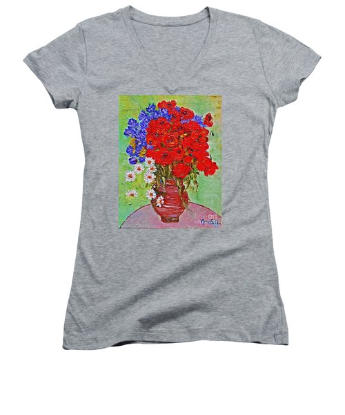 Still Life With Poppies And Blue Flowers Women's V-Neck (Athletic Fit)