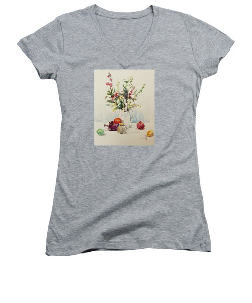 Women's V-Neck T-Shirt (Junior Cut) featuring the painting Still Life With Pomegranate by Becky Kim