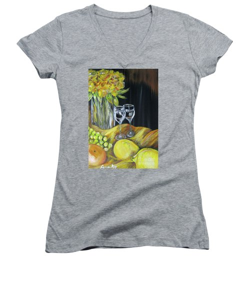Still Life With Wine Glasses, Roses And Fruit. Painting Women's V-Neck (Athletic Fit)