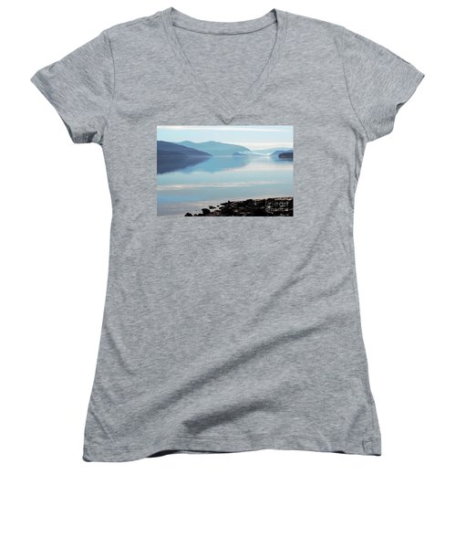 Women's V-Neck T-Shirt (Junior Cut) featuring the photograph Still by Victor K