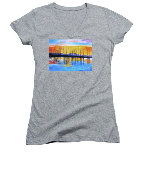 Women's V-Neck T-Shirt (Junior Cut) featuring the painting Still Waters From The Water Series  by Donna Dixon