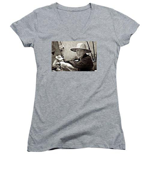 Still Working Women's V-Neck T-Shirt (Junior Cut) by Valerie Rosen
