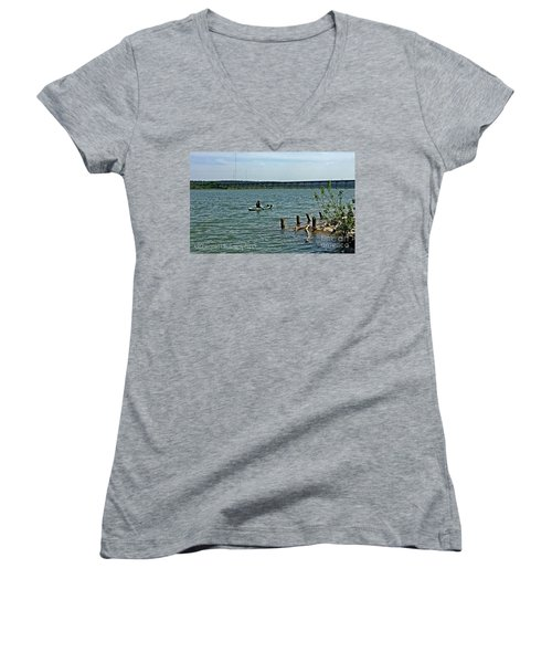 Women's V-Neck T-Shirt (Junior Cut) featuring the photograph Stillhouse Lake Canoe - No.2016 by Joe Finney