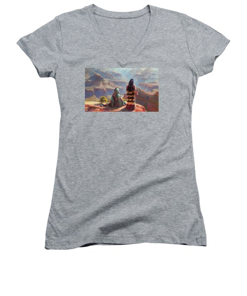 Women's V-Neck featuring the painting Stillness by Steve Henderson
