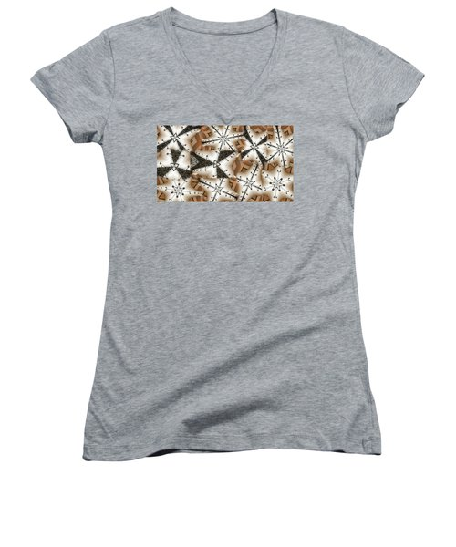 Women's V-Neck T-Shirt (Junior Cut) featuring the digital art Stitched 3 by Ron Bissett