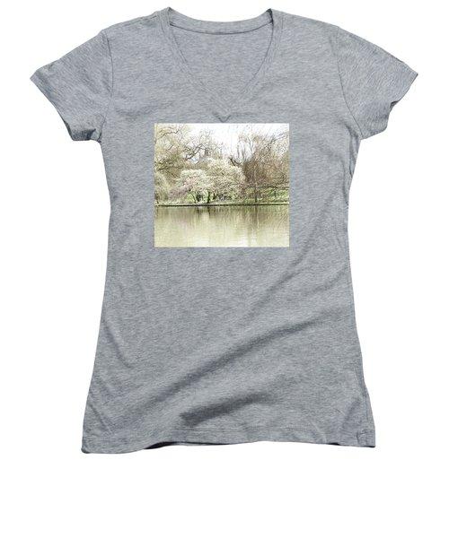 St. James Park London Women's V-Neck T-Shirt (Junior Cut) by Judi Saunders
