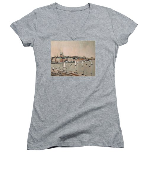 Stockholm Regatta Women's V-Neck T-Shirt (Junior Cut) by Nop Briex