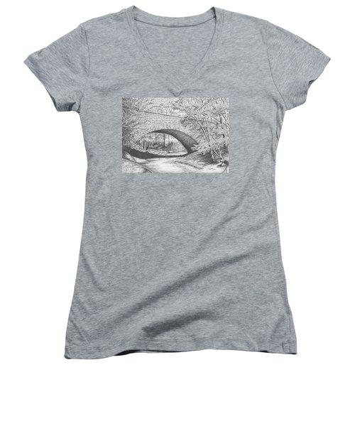 Stone Bridge Women's V-Neck T-Shirt (Junior Cut) by Lawrence Tripoli