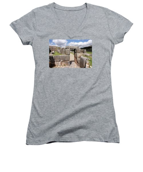 Stone Doorway At Sacsaywaman Women's V-Neck T-Shirt (Junior Cut) by Aidan Moran