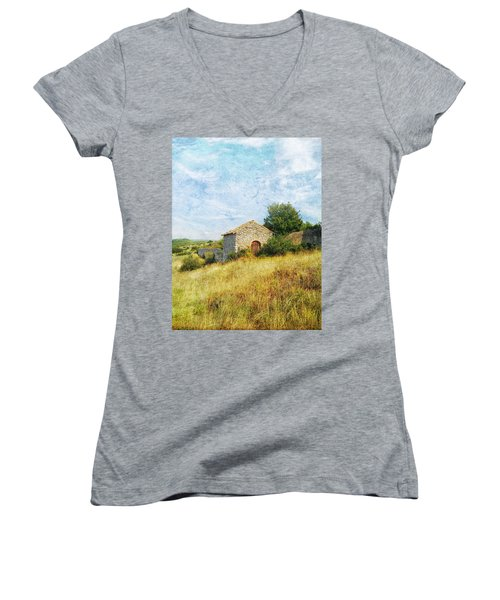 Provence Countryside Women's V-Neck T-Shirt (Junior Cut) by Catherine Alfidi