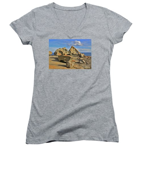 Women's V-Neck T-Shirt (Junior Cut) featuring the photograph Stone Sculpture by Stephen Mitchell