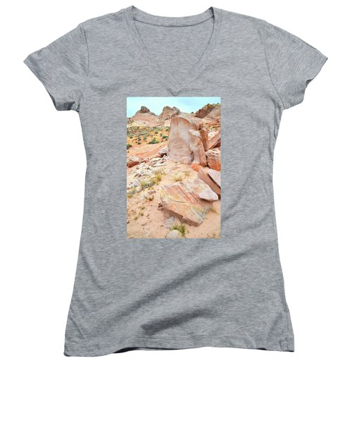 Women's V-Neck T-Shirt (Junior Cut) featuring the photograph Stone Tablet In Valley Of Fire by Ray Mathis